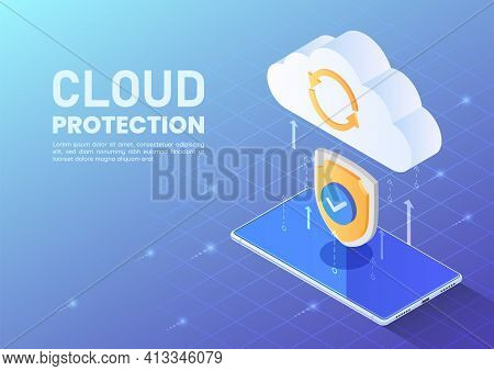 Isometric Web Banner Shield Protecting Data Tranfer From Smartphone To Cloud. Cloud Data Protection