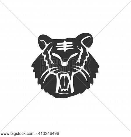 Tiger Head Strong Animal Mascot Illustration Template Isolated