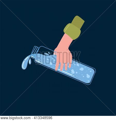 A man\'s hand with a bottle pours water. The concept of pouring drinking water. A poster about thirst and lack of drinking water. Vector illustration of a flat. Vector illustration