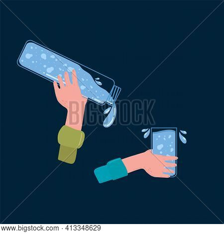 Hands With A Bottle And A Glass Of Drinking Water. The Concept Of Thirst And Lack Of Drinking Water.