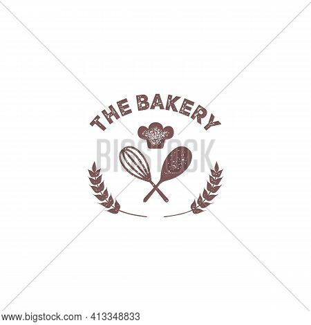 The Bakery Vintage Badge Emblem Logo With Stir And Chef Hat Icon