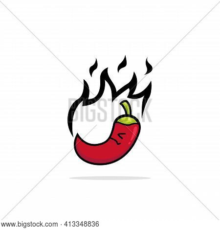 Upset Hot Red Chilli Pepper Logo Icon With Flame Cartoon Illustration Style Character Mascot