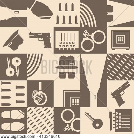 Seamless Pattern Of Icons On The Theme Of A Detective Investigation. The Detective Wears A Hat, Glas