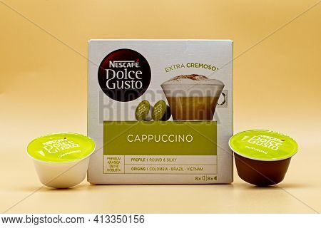 Bologna - Italy - November 11, 2020: Nescafe Dolce Gusto Capsule For Home Cappuccino Extra Cream.