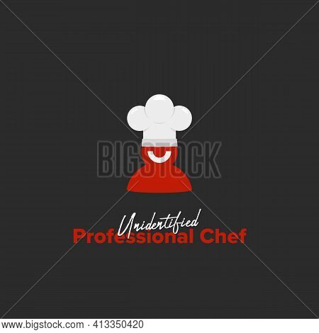 Unidentified Professional Chef Logo With Red Silhouette Smile Chef Wear White Chef Hat In Simple Ill