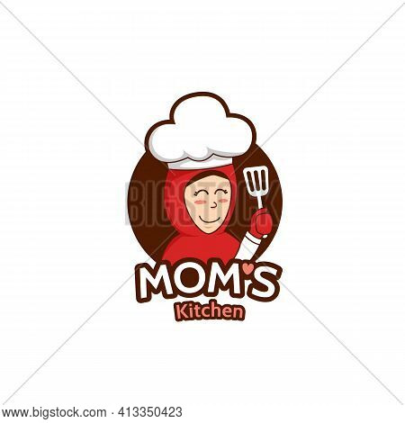 Mommy Mom Kitchen Logo With Female Muslim Mother Mascot Character Illustration Holding Spatula Wears
