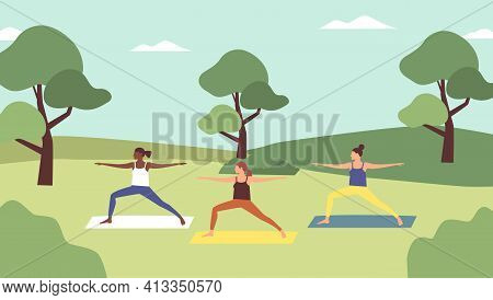Outdoor Yoga Class. Young Women Doing Yoga In Sportswear In City Park In Spring Time. Healthy Lifest