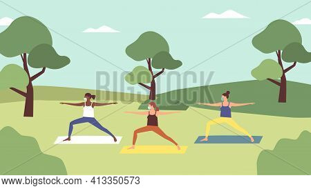 Outdoor Yoga Class. Young Women With Facemasks Doing Yoga In Sportswear In City Park In Spring Time.
