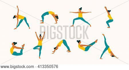 Colorful Set Of Vector Young Woman In Yoga Poses Isolated On White Background. Female Character Doin