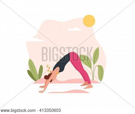 Female Character Doing Yoga In Nature And Leaves. Concept Illustration For Practicing Yoga, Meditati