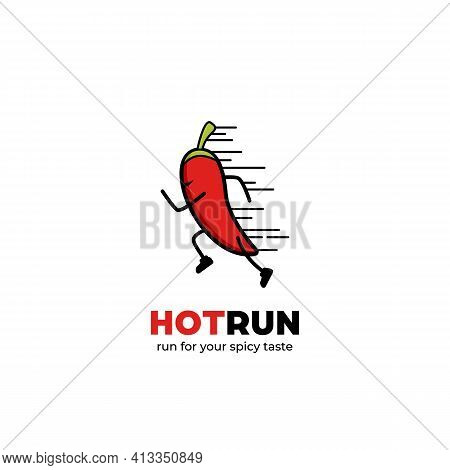 Hot Run Logo, Quick Fast Running Chilli Mascot Character Logo Icon Symbol For Spicy Food Logo