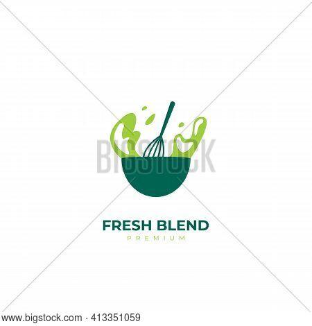 Fresh Blend Salad Smoothies Green Healthy Logo Icon Symbol