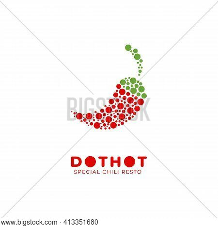 Dot Hot Special Spicy Chili Logo Icon Illustration For Restaurant Or Food Product