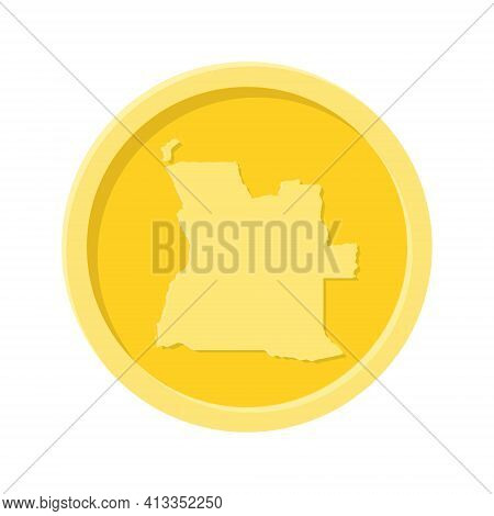Simple Illustration Of Gold Coin Or Medal With Angola Map Concept Of Internet Icon