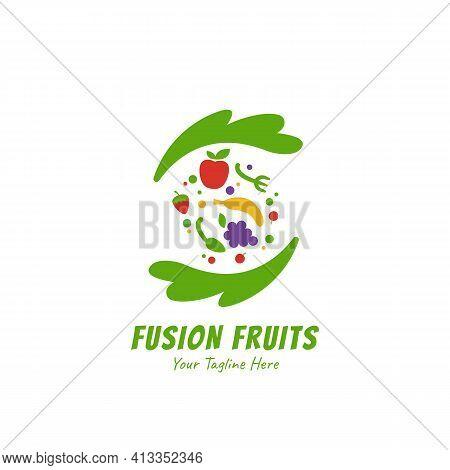 Healthy Smoothies Juice Fusion Fruits Logo Icon Symbol Flat Style