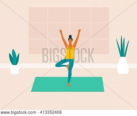 Young Woman Doing Yoga Exercises, Meditating, Stretching On The Yoga Mat. Female Character Practicin