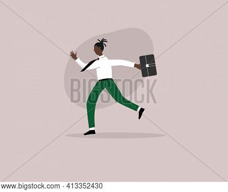 Black Young Business Male Character With Briefcase Running Late To Work. Work Life After Quarantine