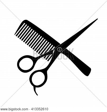 Comb And Scissors Icon On White Background. Hair Salon With Scissors And Comb Sign. Barber Symbol. F