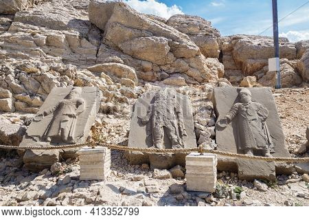 Stone Stelas Depicting Persian Nobles, Near Famous Burial Complex Of Commagenian King Antiochus I, M