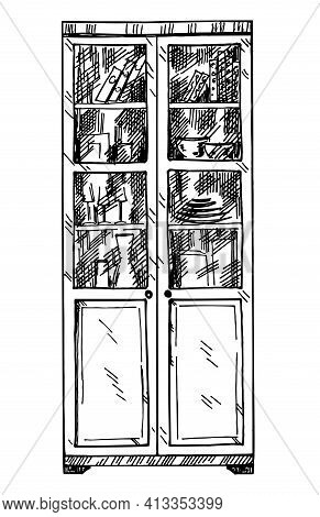 Bookshelves Sketch. Hand Drawn Interior Elements. Library Book Shelf Interior Graphic Sketch Black A