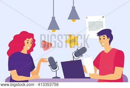 Podcast In Studio Vector Illustration. Podcasters Talking To Microphones Recording Podcast In Studio