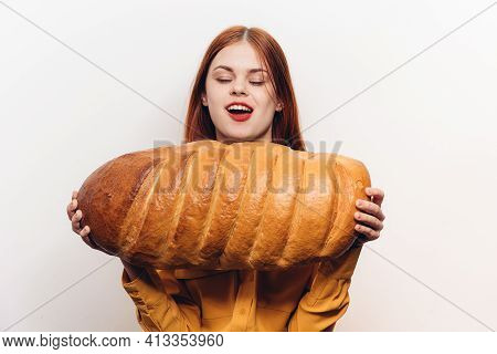 Emotional Woman Opening Her Mouth Wide Hunger Loaf Of Bread Flour Product