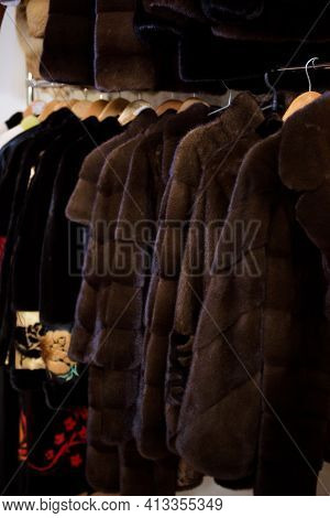 Fur Coats Made For Ladies And Exposed For Sale. Fur Coats On Display, Fur Coats For Women.