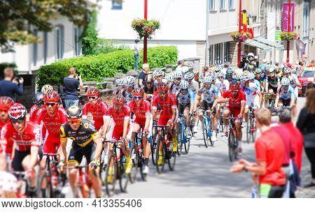 Vielsalm-belgium, July 3, 2017: Sport, Tour De France ,cyclists Contestants Passing Through The Main