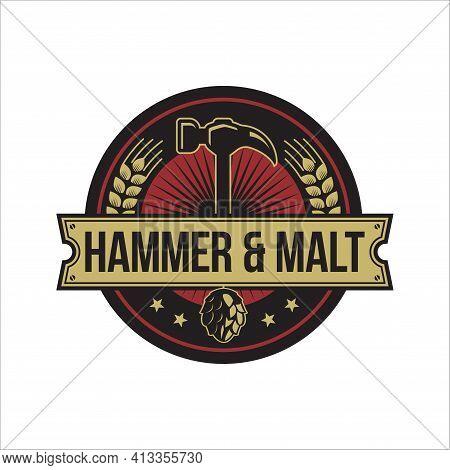 Hammer Malt And Hop Logo Emblem For Bar Or Beer Company