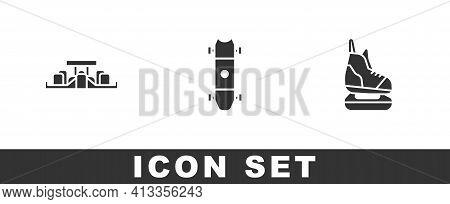 Set Formula 1 Racing Car, Longboard Skateboard And Skates Icon. Vector