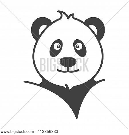 Panda Head Portrait Icon. Simple, Cute Image Of A Stylish Panda. Isolated Vector On Pure White Backg