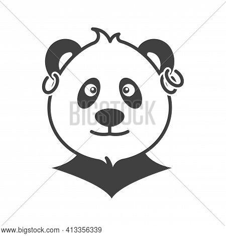 Panda Head Portrait Icon With Earrings In The Ears. Ear Piercing. Simple, Cute Image Of A Stylish Pa
