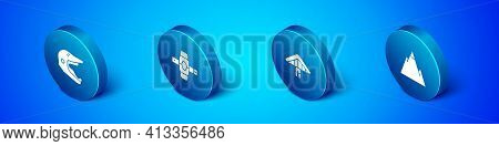 Set Isometric Motocross Motorcycle Helmet, Hang Glider, Mountains And Knee Pads Icon. Vector