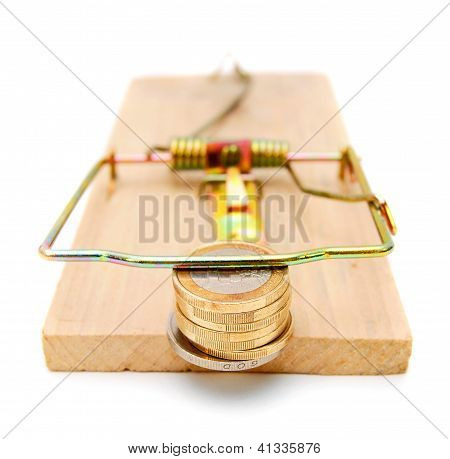 Coins in a mousetrap.