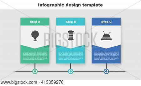 Set Golf Ball On Tee, Sewing Thread Spool And Needle Bed And Needles. Business Infographic Template.