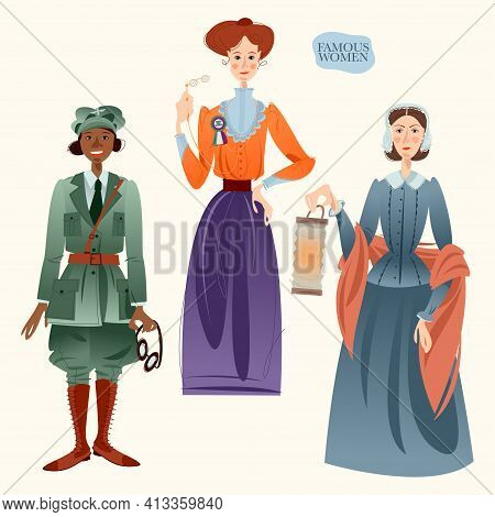 Famous Women. Bessie Coleman, Emmeline Pankhurst, Florence Nightingale. Vector Illustration.