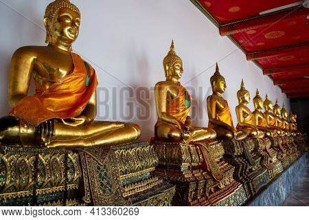 Bangkok, Thailand - January 19.2019 : Buddha Statues In The Wat Pho Buddhist Temple In Phra Nakhon D
