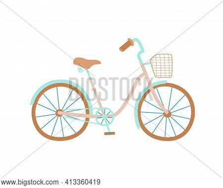 Cute Women S Bike With A Low Frame And Basket In Front. Vintage Bicycle. Vector Illustration In Hand