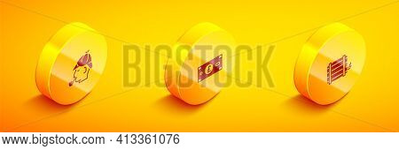 Set Isometric Sherlock Holmes, Pound Sterling Money And Wooden Barrel Icon. Vector