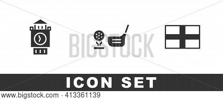 Set Big Ben Tower, Golf Club With Ball On Tee And Flag Of England Icon. Vector