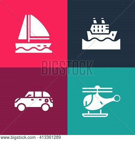 Set Pop Art Helicopter, Hatchback Car, Cruise Ship And Yacht Sailboat Icon. Vector