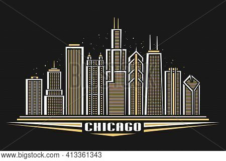 Vector Illustration Of Chicago City, Horizontal Poster With Line Art Design Illuminated Chicago City