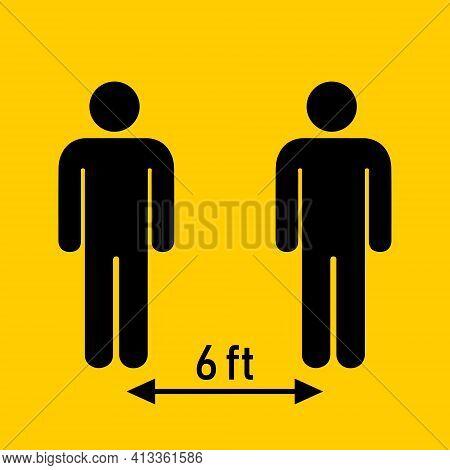 Social Distancing. Keep 6 Feet Distance. Coronovirus Epidemic Protective. Vector Illustration