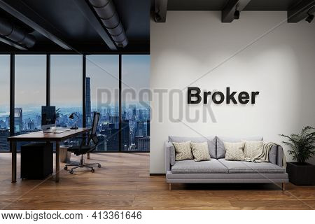 Modern Luxury Loft With Skyline View And Vintage Couch, Wall With Broker Lettering, 3d Illustration