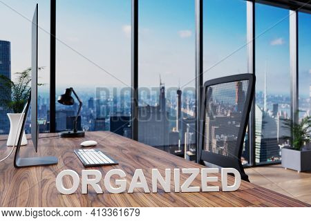 Organized; Office Chair In Front Of Workspace With Computer And Skyline View; Organization Concept;