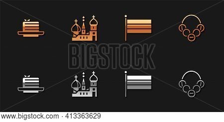 Set Medovik, Saint Basils Cathedral, National Russia Flag And Russian Bagels Icon. Vector