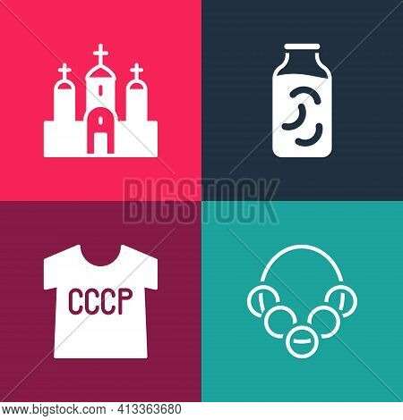 Set Pop Art Russian Bagels, Ussr T-shirt, Pickled Cucumbers In Jar And Church Building Icon. Vector