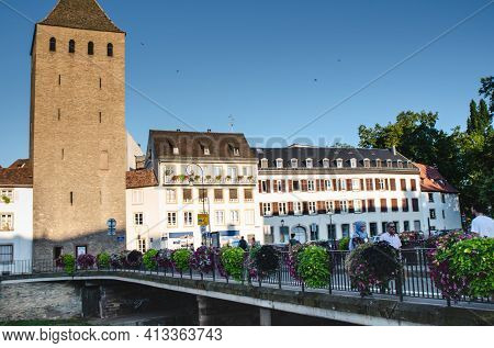 Strasbourg, France. August 2019. One Of The Many Bridges To The Historic Center: The Petite France.