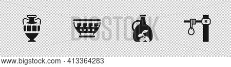 Set Ancient Amphorae, Greek Ancient Bowl, Bottle Of Olive Oil And Gallows Icon. Vector