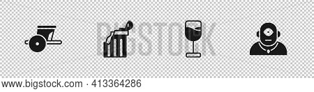 Set Ancient Chariot, Broken Ancient Column, Wine Glass And Cyclops Icon. Vector